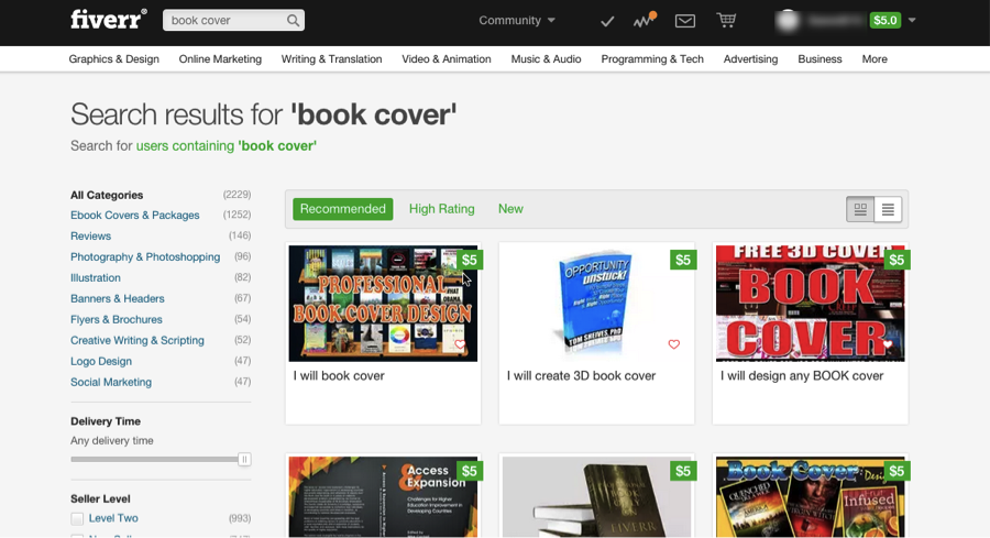 Fiverr Book Cover Search
