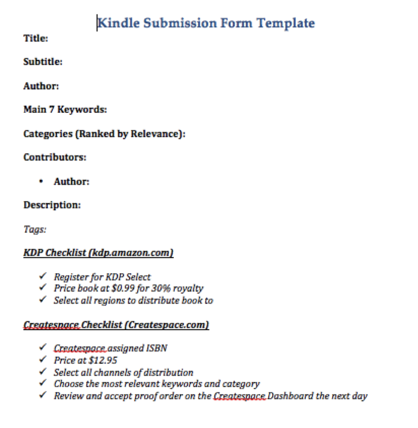 Kindle Form Submission Template