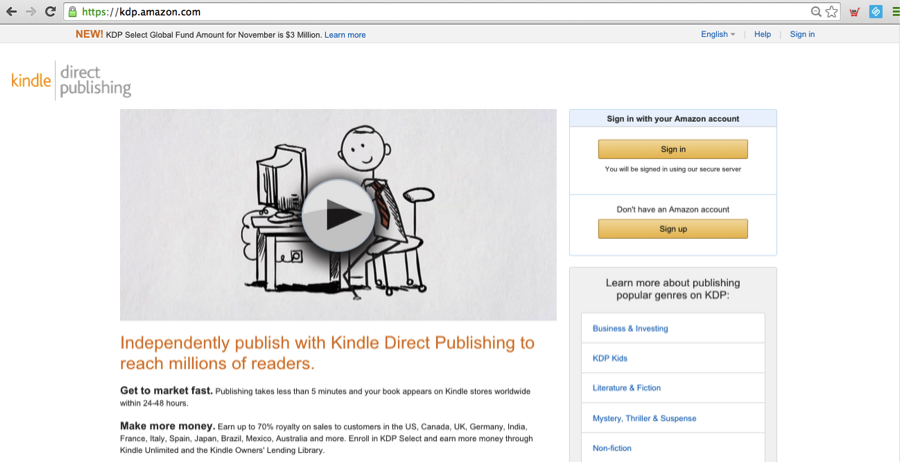 Kindle Direct Publishing Sign-Up