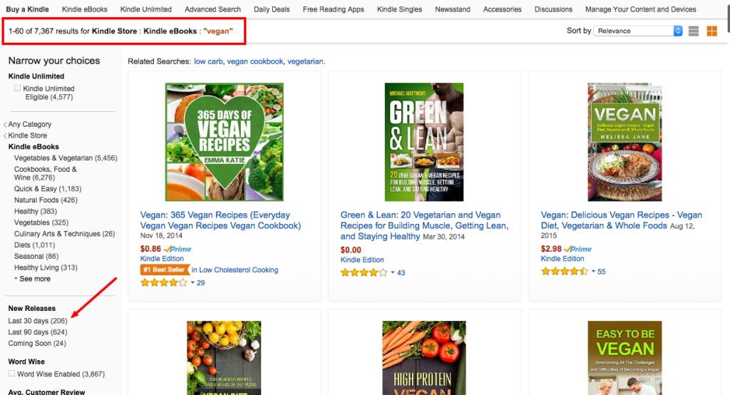 Amazon Kindle Vegan Search Results