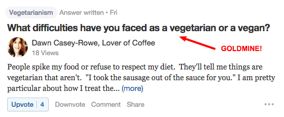 Quora Difficulties Vegans Have