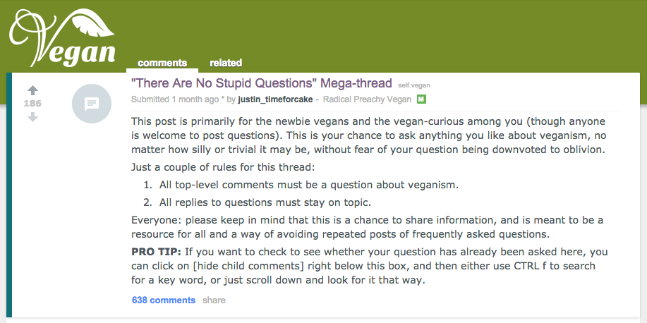 Reddit Vegan Mega Thread