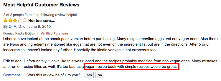 Amazon Three Star Vegan Review