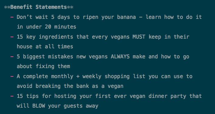 Vegan Book Benefit Statements