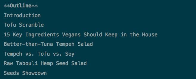 Vegan Book Outline